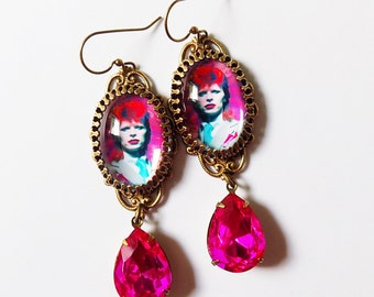 Bowie Earrings, David Bowie Earrings, Ziggy Stardust, Glam Rock Earrings, Pop Art, Pink Turquoise Earrings, Rock Star Earrings, gift, Glam