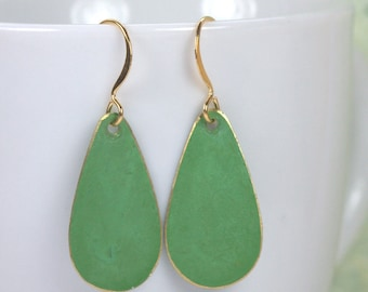 Bright Green Patina Teardrop Gold Dangle Earrings, Patina Gold Dangle Earrings, Gold Earrings, Green Earrings [#934]