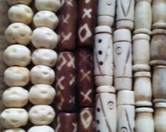 Bone Beads Carved Dyed, Four Assorted Strands, Round, Hair Pipe, Half Inch, One Inch, Jewelry Supply Assortment #2BB