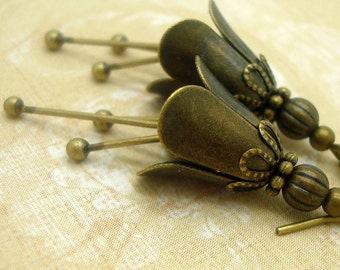 Flower Dangle Earrings with Stamens in the Neo Victorian Jewelry Style