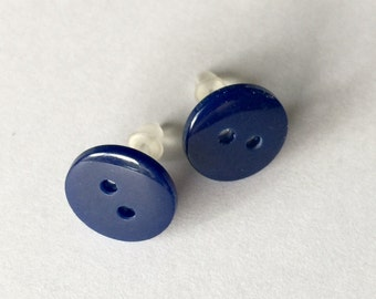 Post Earrings Kawaii Stud Earrings Blue Button Almost Navy No Metal Acrylic Posts Hypoallergenic Sensitive Ears Blau Bleu Marine Azul Marino
