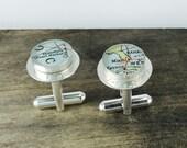 Handmade + Custom Hand Stamped Sterling Map Cufflinks