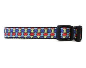 5/8 or 3/4 Inch Wide Dog Collar with Adjustable Buckle or Martingale in Autism Awareness