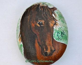 Bay Horse Acrylic Rock Art Stone Art by Cori Solomon
