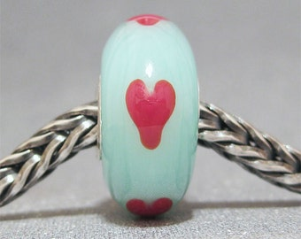 SMALL CORE Handmade Lampwork Bead Glass Big Hole Bead Red Hearts on Seafoam