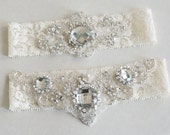 Wedding Garters, Ivory Garters, Something Blue, Bridal Garters, Garter Set