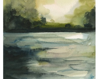 "landscape painting, watercolor landscape, landscape print, ""In the Water"""