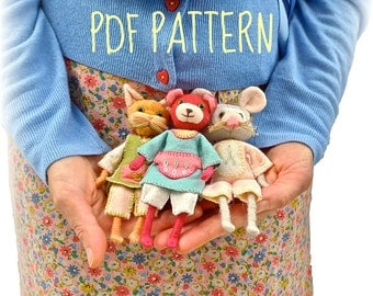 Felt animal doll cat / mouse / bear  pdf sewing pattern and tutorial by Verity Hope