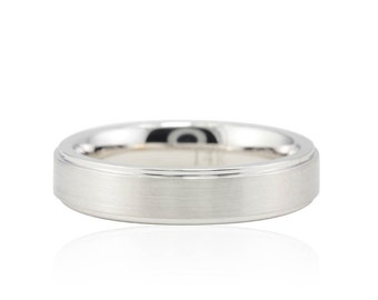 Men's Wedding Ring - 5mm Comfort Fit Wedding Band with Brushed Center and Polished Edges in 14k White Gold - LS1094