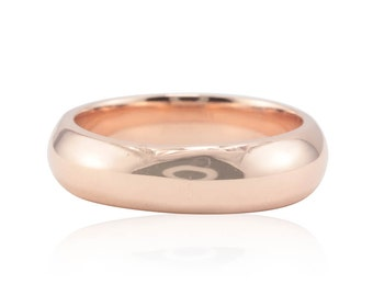 Rose Gold Wedding Band, 14kt Rose Gold Man's Wedding Band - 6mm wide and comfort fit - LS2549