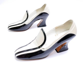 Vintage Black and White Women's Shoes // Chunky Heels// 8