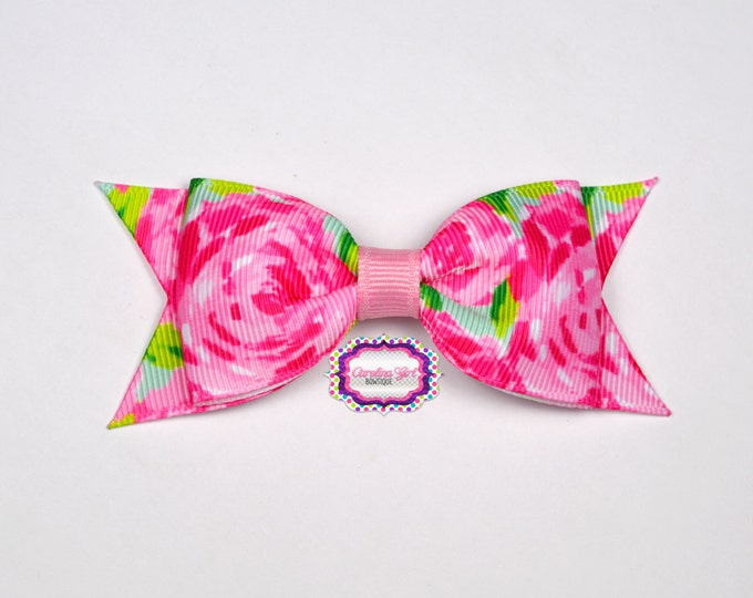 """Hotty Pink First Impression Bow ~ 3.5"""" Hairbow ~ Lilly Inspired ~ Small Hair Bow ~ Girls Barrette ~ Toddler Bow ~ Hair Clip ~ Girls Hair Bow"""