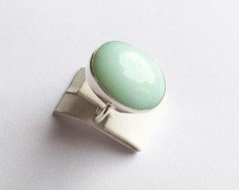 Unique SILVER with Orginal Jade Stones ring