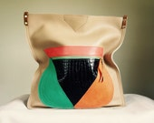 SAMPLE////Art Project Tote with Color Blocking