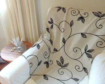 Bed Throw, Velvet Vines, Black, Linen, Hemp, Oatmeal, 26 x 81, Throw Blanket