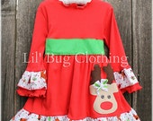 Custom Boutique Christmas Green Red Reindeer Holiday Comfy Knit Dress, Reindeer Girl Dres