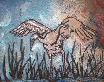 framed whooping crane in blues 2