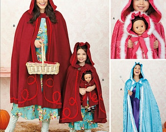 """Misses, Child and American Girl Doll Matching Capes 18"""" Doll Costume Patterns Simplicity 1348 Sizes Girls 3-8 Misses XS to XL UNCUT"""
