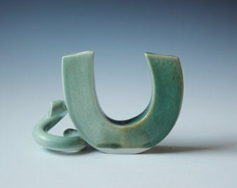 Unique celadon green studio pottery glazed candle holder - OOAK vintage handmade