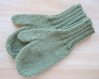 MITTENS HAND KNIT Adult Wool Pale Olive