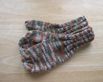 Child Medium Mittens Wool Hand Knit Orange Green Cream Variegated