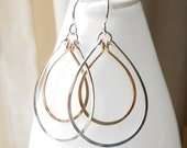 Silver And Gold Hoop Earrings, Sterling Silver and Gold Filled Teardrop Dangle Hoops, Mixed Metal Jewelry