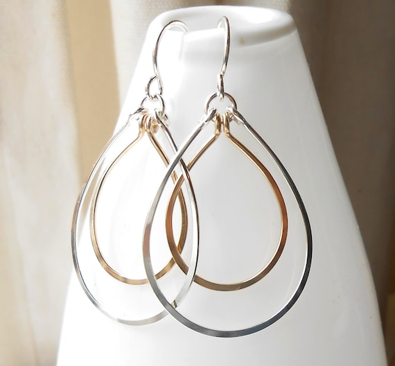 Sterling Silver and Gold Filled Teardrop Dangle Hoops
