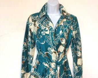 Lanvin Dress Shirt Dress Size 6 to 8 Vintage 70s
