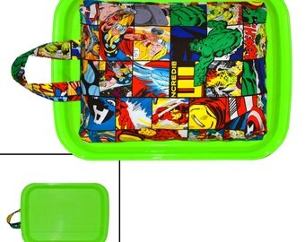 CHILDRENS LAP DESK - Made From Marvel Comics Avengers Fabric - Great for Car Trips