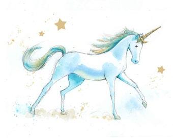 Unicorn Nursery Print - Unicorn Wall Art Print - Unicorn Wall Decor - Unicorn Watercolor