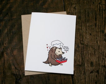 Letterpress Printed Hedgehog Flours Card - single