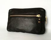 Leather wallet in black lizard embossed lamb hide// antique gold