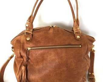 AW15 leather bag in vintage whiskey brown