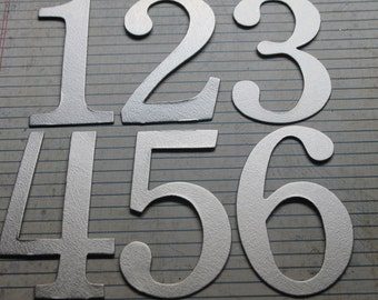 Wedding Table Numbers 1-12 silver brushstroke matte foil chipboard 4 inch tall SERIF number diecuts