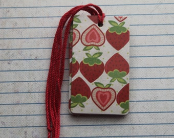 28 Strawberry patterned paper over chipboard tags with string