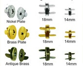 10 SETS - MAGNETIC Brass SNAPS with Washers - You choose Size and Finish