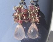 Rose Quartz Tourmaline Zircon Cluster Dangle Sterling Silver Earrings Wire Wrapped