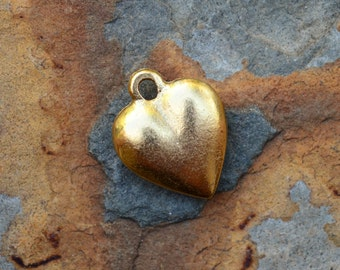 1 Antique Gold Large Puffed Heart Charm 15 x 12mm