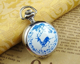10% OFF SALE - 50 Percent OFF Sale - 1pcs Classic Indigo Deer  Locket Necklace Watch Pendant Lk806