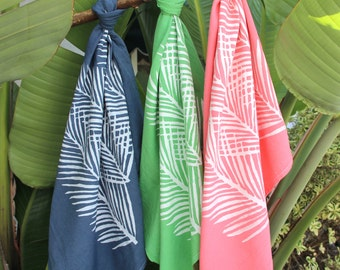 Nipa Palm Leaf Print on Hand Dyed Flour Sack Dish Towel - Choice of Colors