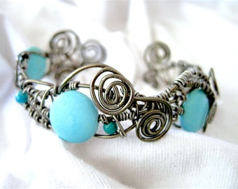 """Turquoise Beaded Antique Brass Metal Wire Wrapped Bracelet up to 7-1/2"""""""