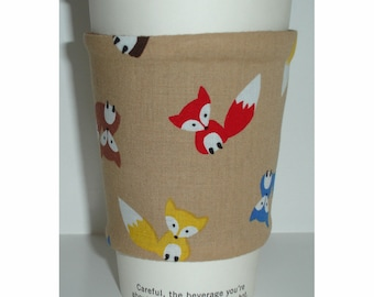 Foxes Cup Sleeve Cozy Tea Coffee Mug Cosy Sleeve Wildlife Fox Fits Costa Starbucks Nero Takeaway Cups