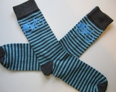 Cycle Socks - Teal blue and grey stripe and sky blue printed bike