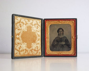 Civil War Ambrotype, 1800s Photograph, Antique Black White Portrait, Fine Art Photography, Young Woman, Embossed Case, Ninth Plate