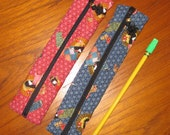 Japanese Kimono Girl Design Quilted Pencil Pouches Set of 2