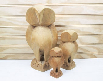 Vintage Wooden Owl Figurine Set Carved Wood India Mid Century Modern Retro Lot
