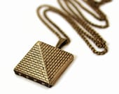 Pyramid Locket - Egyptian Pyramid Brick Design Gold Locket Necklace - Gift For Her