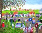 The Quilt Sale - RESERVED - Original Naive Figures Folk Art  - 48 x 36 inches - Made to Order