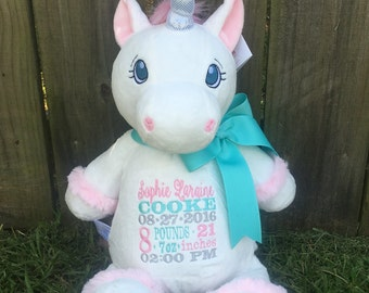 White Unicorn cubbie with your choice of initials, name or birth information