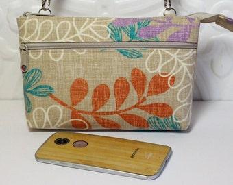 Cross Body Wallet Cell Phone Wallet / iPhone 6 Plus Purse Clutch / Samsung Galaxy Wallet / Tech Smart Phone / Tan Leaf Print
